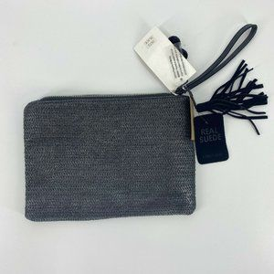 Street Level Wristlet Real Suede Black Zipper